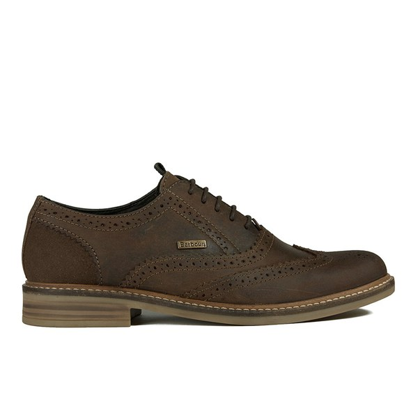 Barbour Men's Redcar Leather Oxford Derby Brogues - Dark Brown