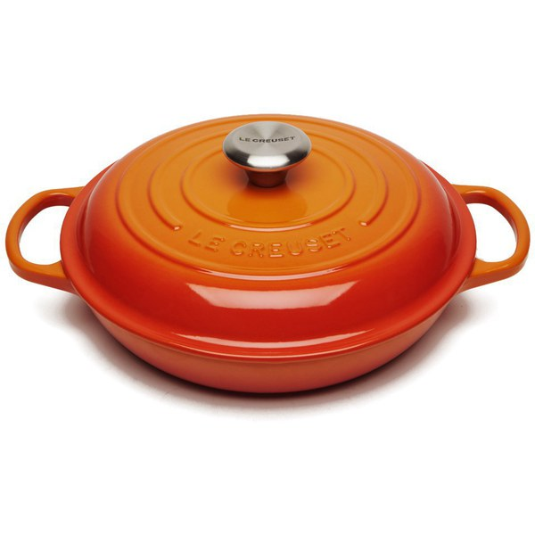 le creuset signature cast iron shallow casserole dish 26cm volcanic homeware. Black Bedroom Furniture Sets. Home Design Ideas