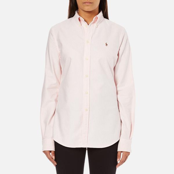 Polo ralph lauren women 39 s harper shirt pink white free for Pink and white ralph lauren shirt