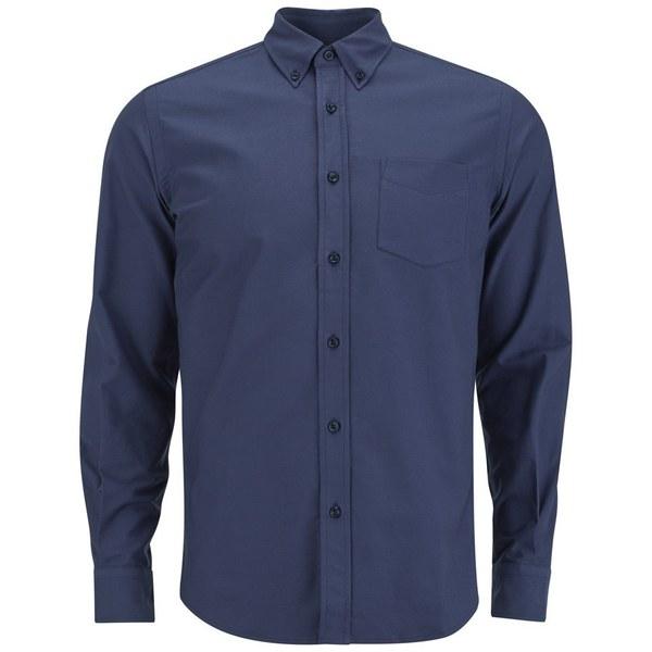 Tripl Stitched Men's Oxford Long Sleeve Shirt - Navy