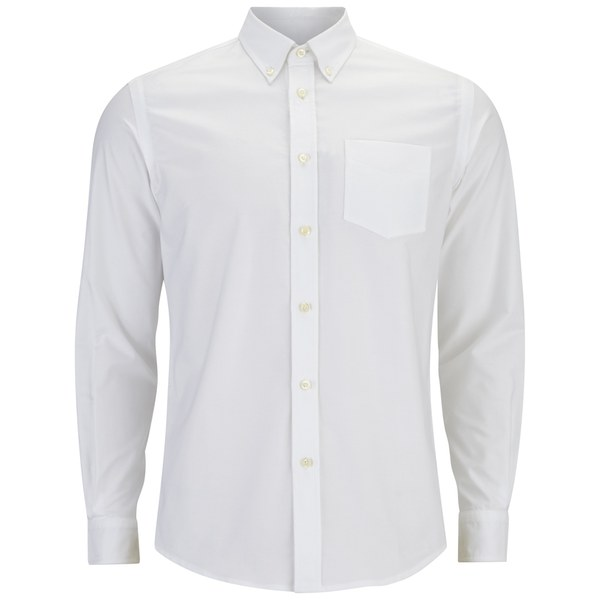 Tripl Stitched Men's Oxford Long Sleeve Shirt - White
