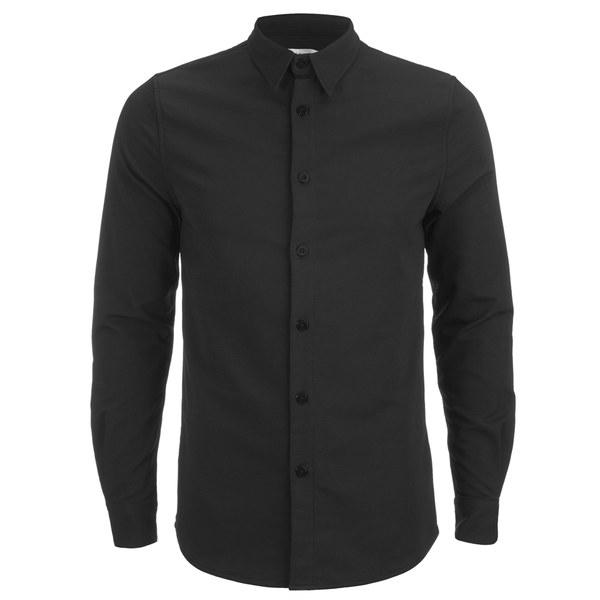 Han Kjobenhavn Men 39 S Textured Fabric Long Sleeve Shirt