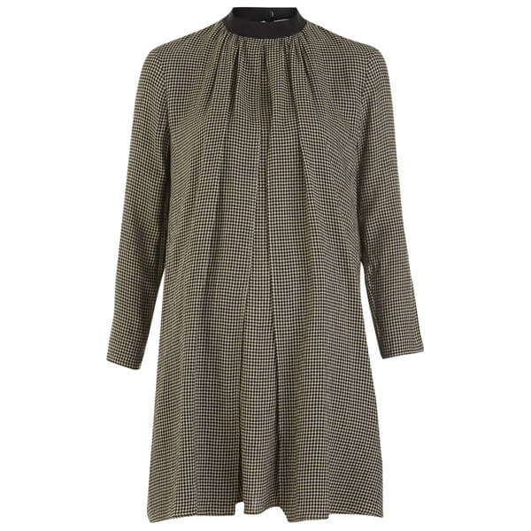 Maison Kitsuné Women's Woolly Check Voile Tunic Dress - Black