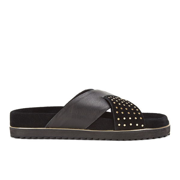 Senso Women's Kayden I Leather/Suede Double Strap Sandals - Ebony