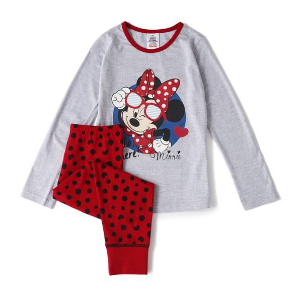 Disney Minnie Mouse Girl's Long Sleeve Pyjamas - Grey/Red
