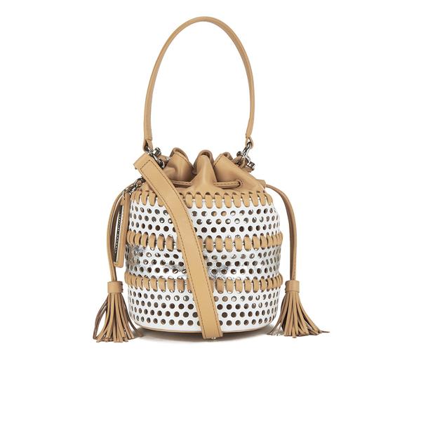 Loeffler Randall Women's Mini Industry Perforated Bucket Bag - White/Silver/Natural