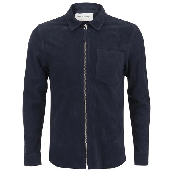 Our Legacy Men's Suede Zip Shirt - Navy