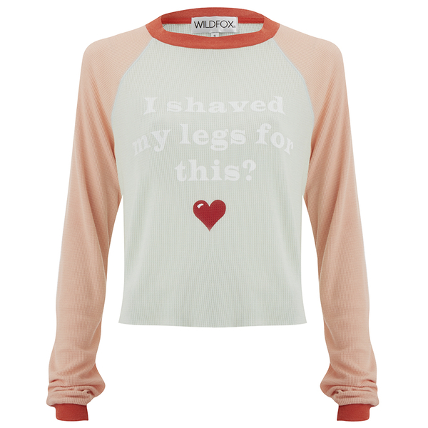 Wildfox Women's Luca Crop Bad Date Long Sleeve Top - Rainy Day Blue/Vintage Lace