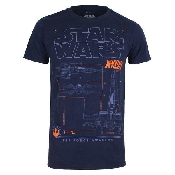 Star Wars Men's X-Wing Schematic T-Shirt - Navy