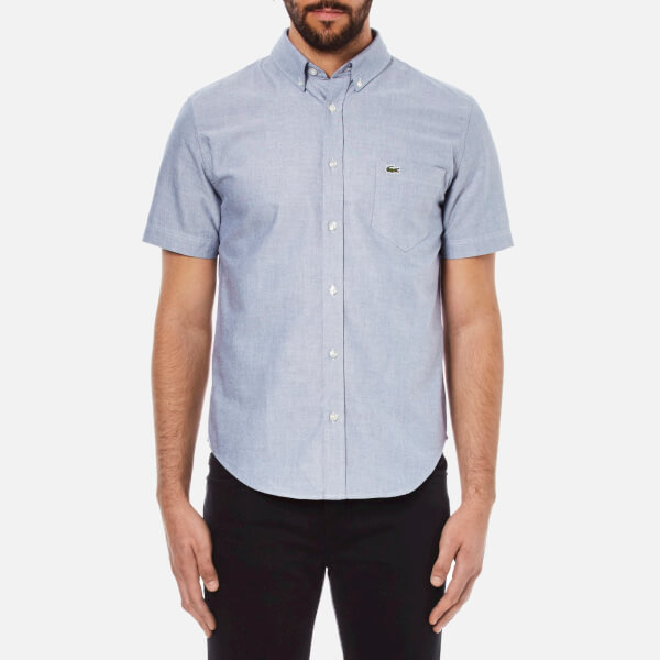 Lacoste Men's Short Sleeve Casual Shirt - Deauville Blue