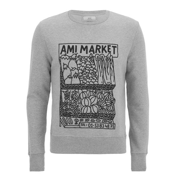 AMI Men's Market Print Crew Neck Sweatshirt - Heather Grey