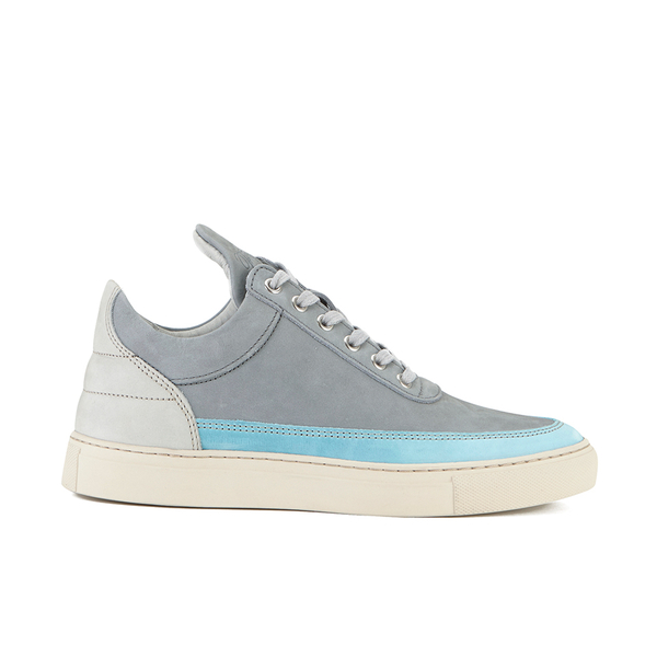 Filling Pieces Iron Leather Low Top Trainers - Ocean Grey