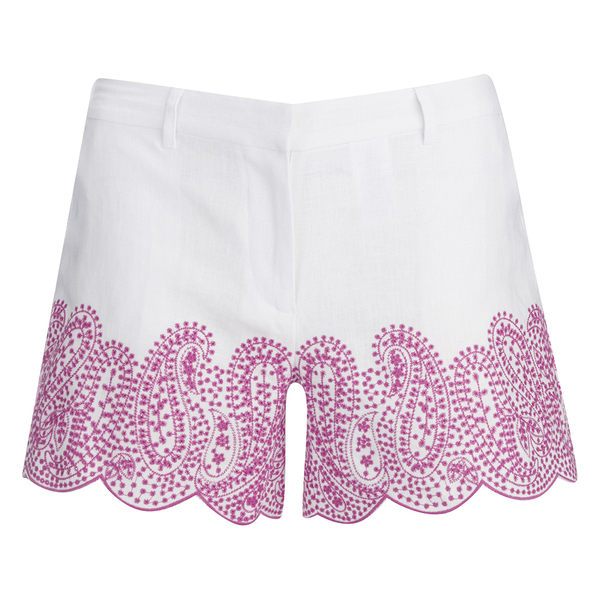 MICHAEL MICHAEL KORS Women's Embroidered Mini Shorts - White