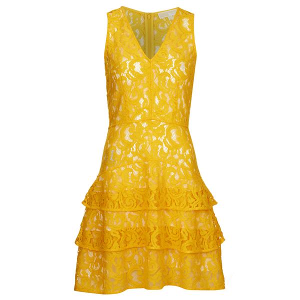 MICHAEL MICHAEL KORS Women's Lace Tier Dress - Sunflower