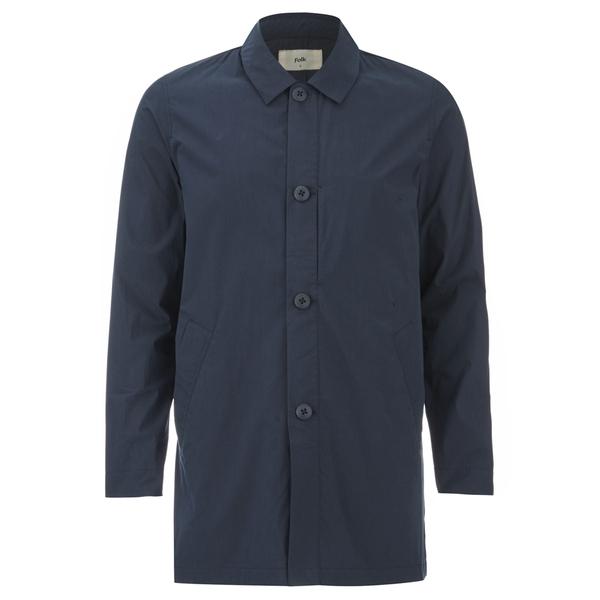 Folk Men's Mid Length Buttoned Jacket - Navy