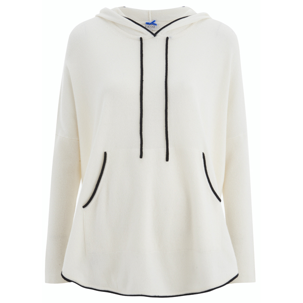 Cocoa Cashmere Women's Hooded Jumper - Black/Chalk