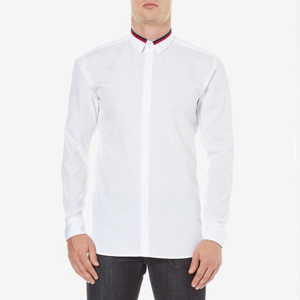 HUGO Men's Ewid Collar Detail Long Sleeve Shirt - White