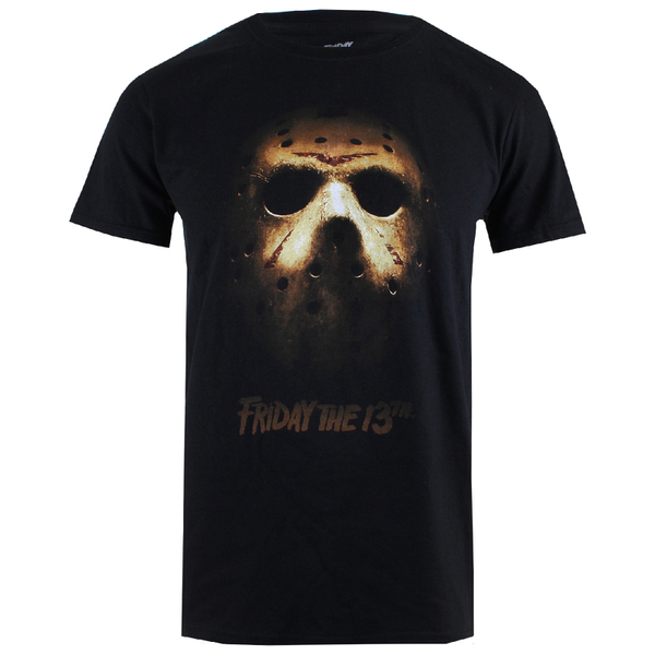 Friday the 13th men 39 s jason mask t shirt black my geek box for Mens dress shirts black friday
