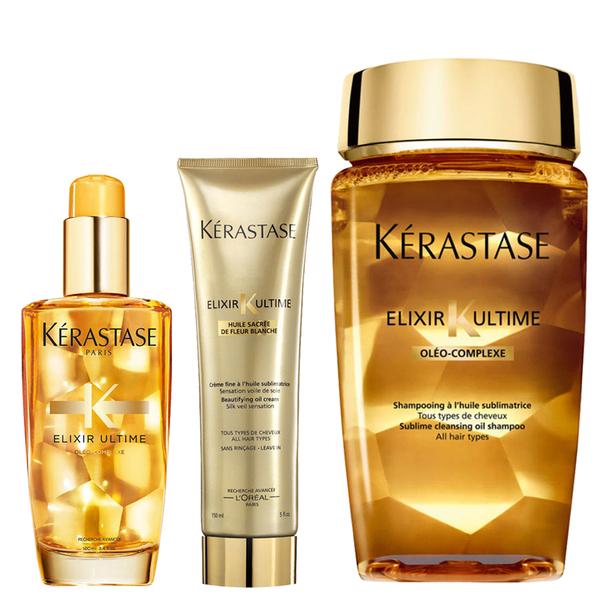 Kérastase Elixir Ultime Huile Lavante Bain 250ml, Crème Fine 150ml and Original Hair Oil 100ml Bundle