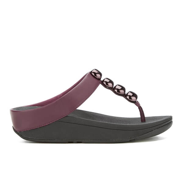 FitFlop Women's Rola Leather Toe-Post Sandals - Hot Cherry - UK 7