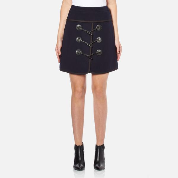 Carven Women's Duffle Button Skirt - Navy