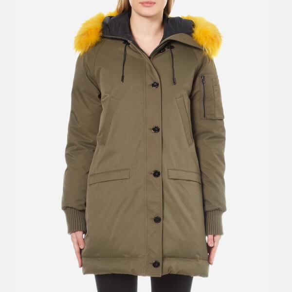 KENZO Women's Removable Yellow Fur Lined Long Parka - Darker Khaki