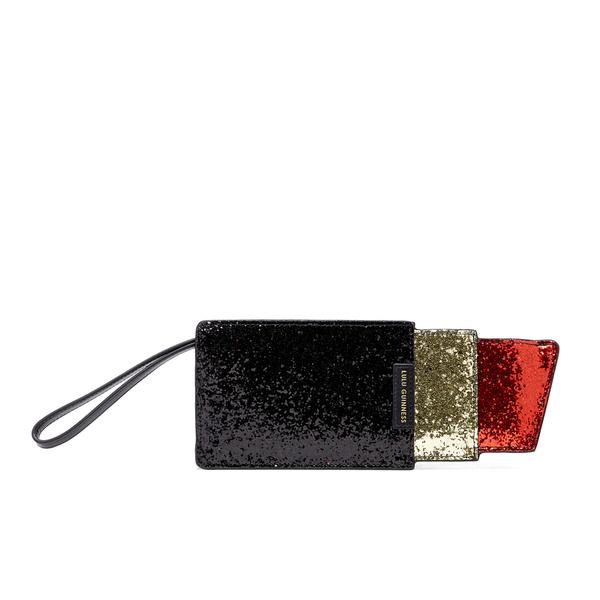 Lulu Guinness Women's Glitter Lipstick Pouch - Black/Red