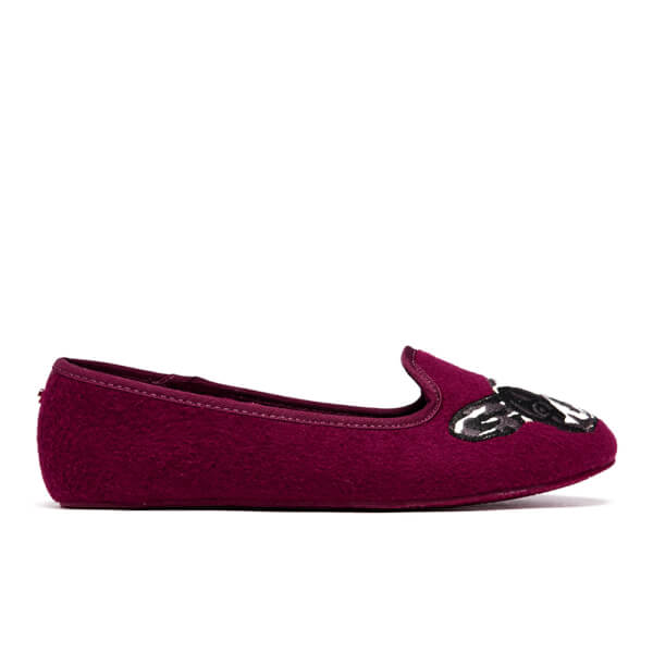 Ted Baker Women's Ayaya Embroidered Puppy Slippers - Burgundy
