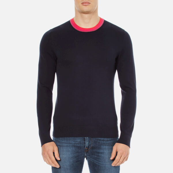 PS by Paul Smith Men's Collar Detail Crew Neck Knitted Jumper - Navy