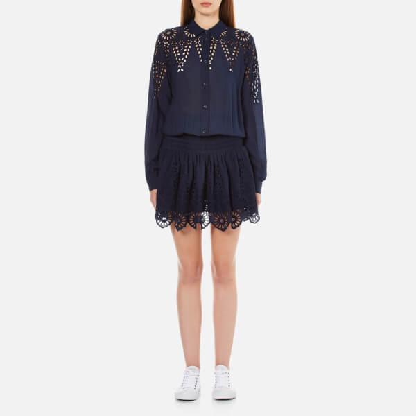 Ganni Women's Yoko Lace Shirt Dress - Iris