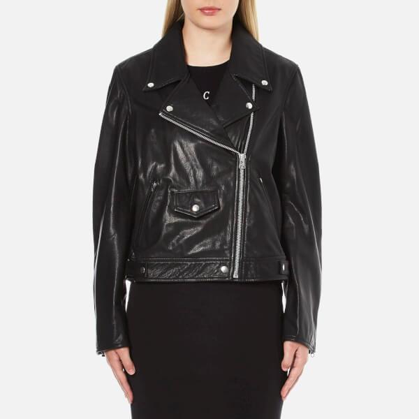 McQ Alexander McQueen Women's Casual Leather Biker Jacket - Black