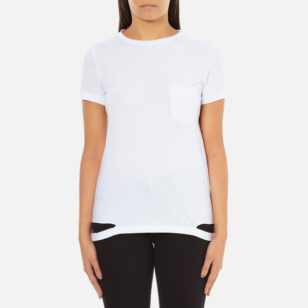 Helmut Lang Women's Medium Weight Cotton Jersey Slash Hem T-Shirt - White