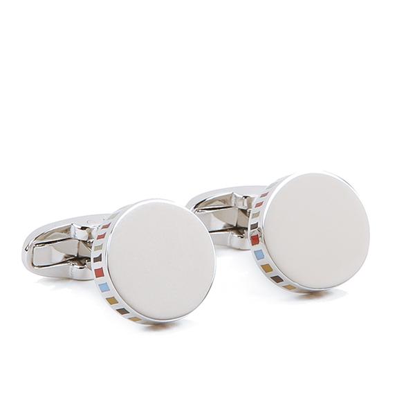 Paul Smith Accessories Men's Stripe Edged Cufflinks - Silver