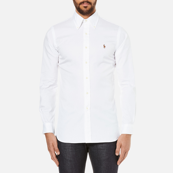Polo Ralph Lauren Men's Custom Fit Button Down Pinpoint Oxford Shirt - White