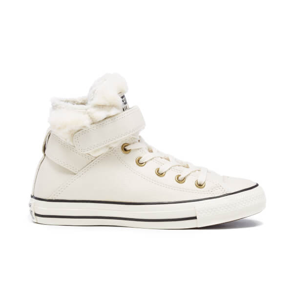 Converse Women's Chuck Taylor All Star Brea Leather Fur Hi-Top Trainers - Parchment/Black