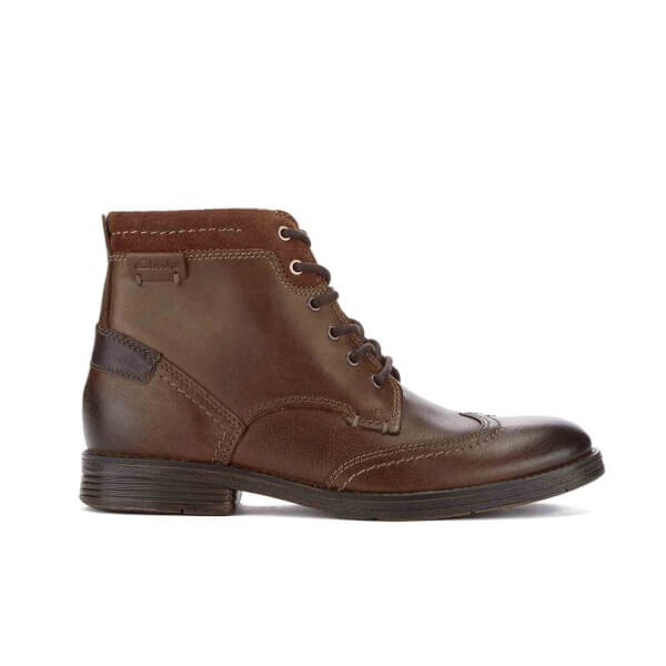 Clarks Men's Devington Hi Leather Lace Up Boots - Tobacco