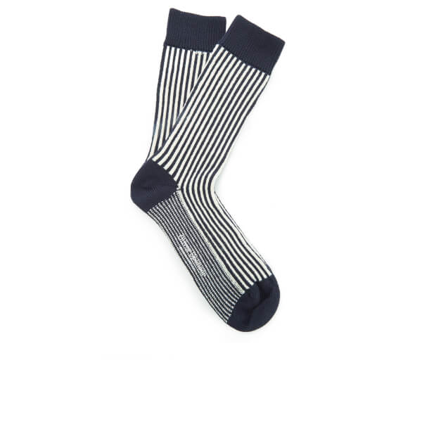 Oliver Spencer Men's Vertical Socks - Navy/Oatmeal