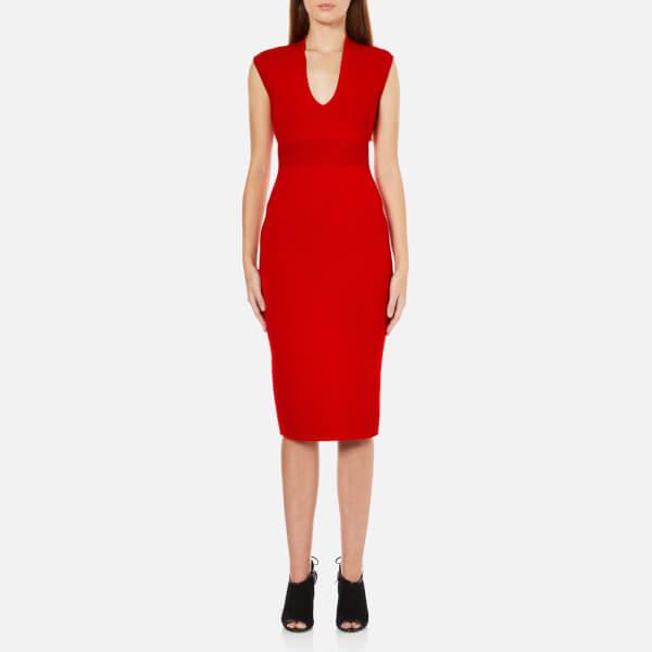 MICHAEL MICHAEL KORS Women's Midi V Neck Dress - Red