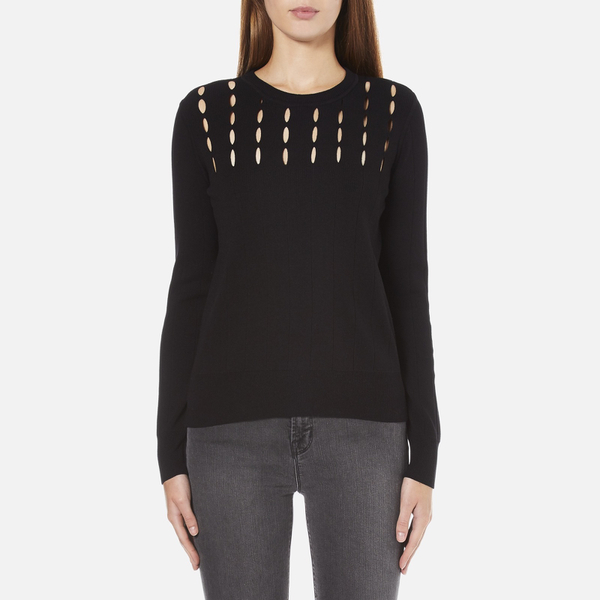 MICHAEL MICHAEL KORS Women's Slash Neck Crew Sweater - Black