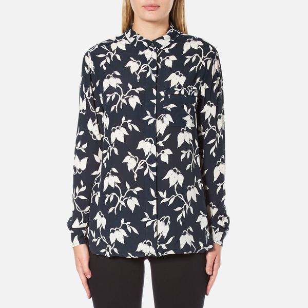 Ganni Women's Maxwell Crepe Shirt - Vanilla Ice Bell Flower