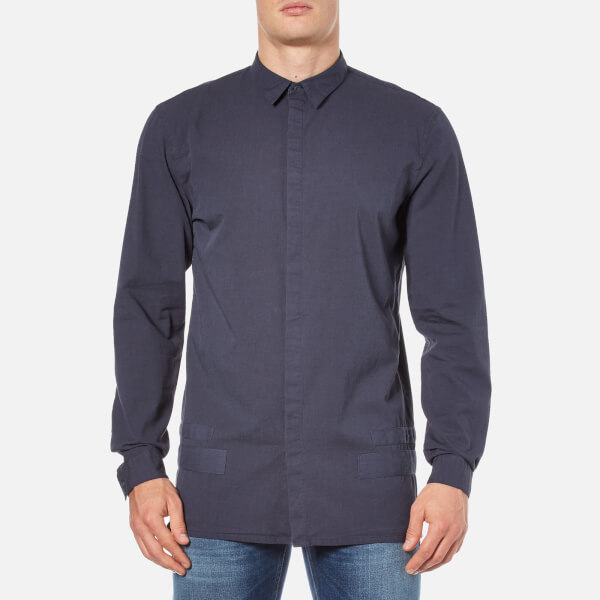 Helmut Lang Men's Canvas Long Sleeve Shirt - Peacoat Blue