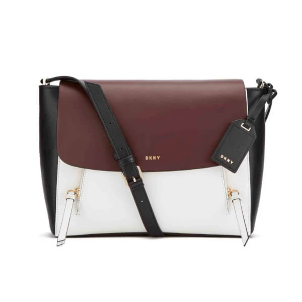 DKNY Women's Greenwich Small Messenger Bag - Oxblood/White/Black
