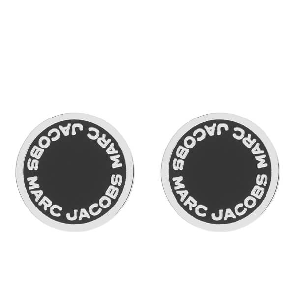Marc Jacobs Women's Enamel Logo Disc Stud Earrings - Black/Argento