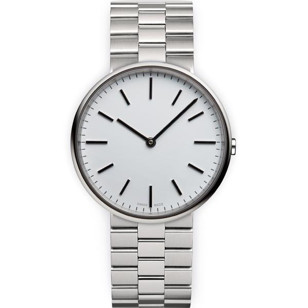 Uniform Wares Men's M37 Polished Steel Brushed Lined Bracelet Wristwatch - Silver