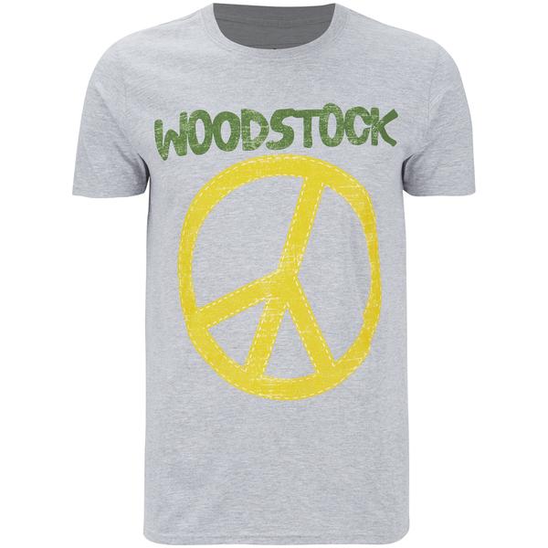 Woodstock Men's Stitch Peace Sign T-Shirt - Sport Grey