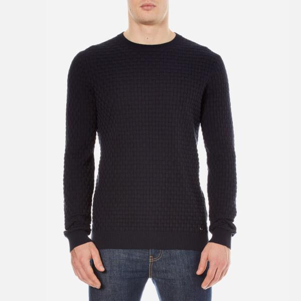 HUGO Men's Subon Textured Knitted Jumper - Navy