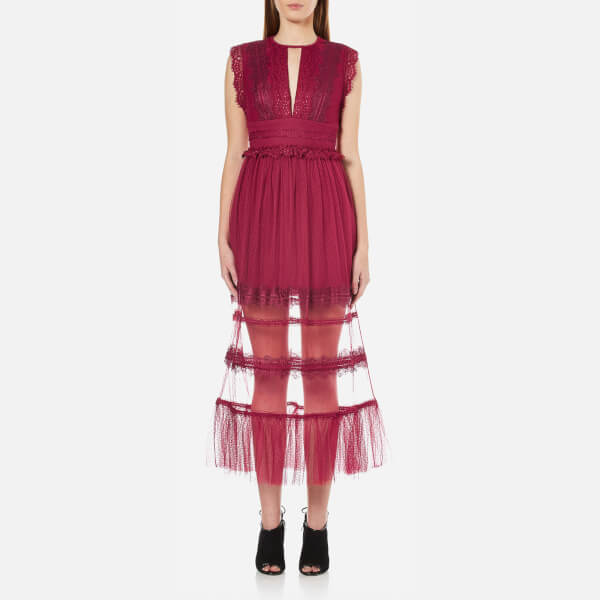Three Floor Women's Zen Semi Sheer Midi Dress - Damson Plum