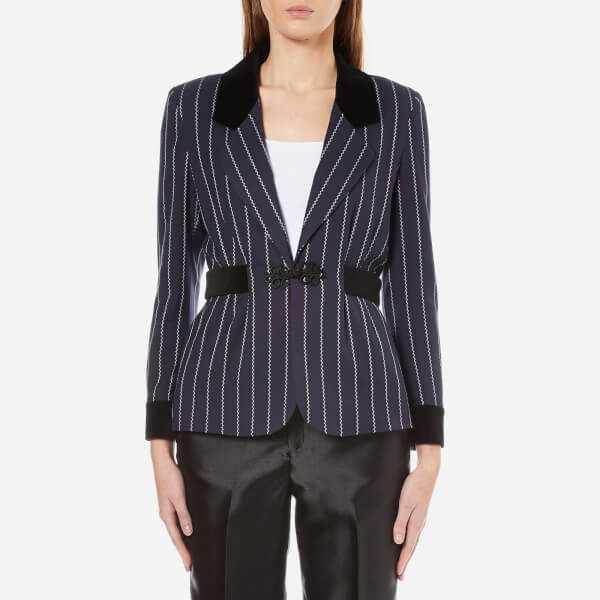 Ganni Women's Oakwood Stripe Jacket - Total Eclipse