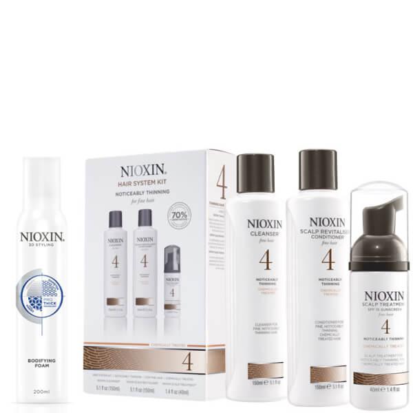 NIOXIN Hair System Kit 4 y Espuma Voluminizante Surtido