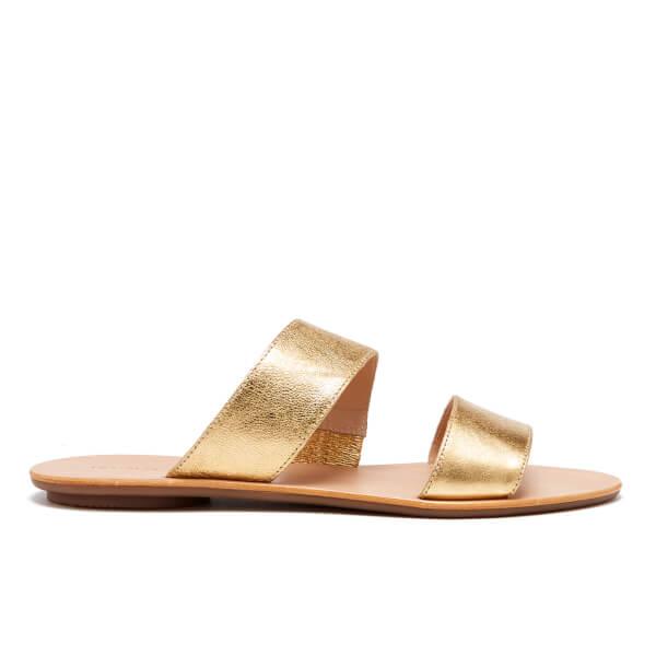 Loeffler Randall Women's Clem Double Strap Flat Sandals - Gold